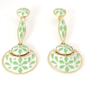 Trifari Green & White Long Clip Earrings